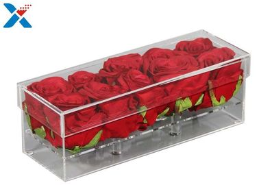 Rectangle  Acrylic Flower Box 12 24 36 Holes Rose Flower Box With Lid Durable
