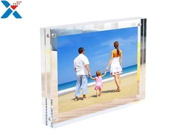 Clear Double Sided Acrylic Block Photo Frame , Acrylic Magnetic Picture Frames