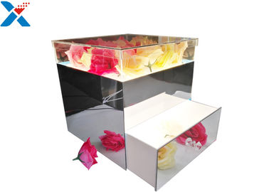 Mirror Acrylic LED Box With Drawer , Flowers Packing Mirror Flower Box